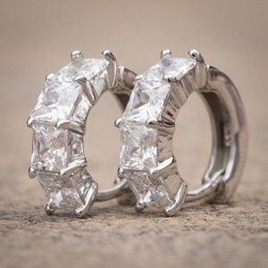 Iced Square Cut Small 14K White Gold Hoop Earrings